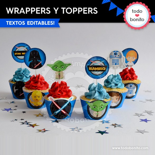 Kit imprimible wrappers y toppers Star Wars