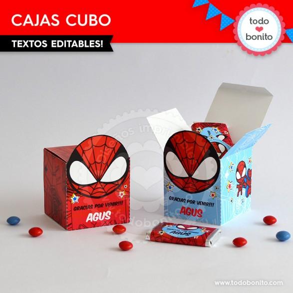 Cajitas cubo imprimibles del Hombre Araña por Todo Bonito
