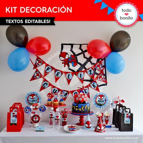 Kit de decoración imprimible y editable del Hombre Araña por Todo Bonito