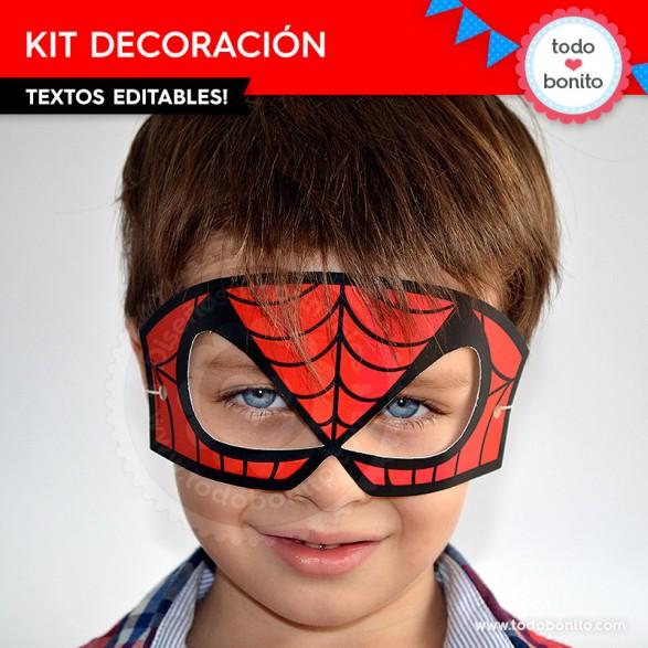 Antifaz del Kit imprimible del Hombre Araña por Todo Bonito