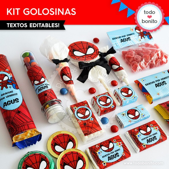 Envoltorios imprimibles y personalizables del Hombre Araña por Todo Bonito