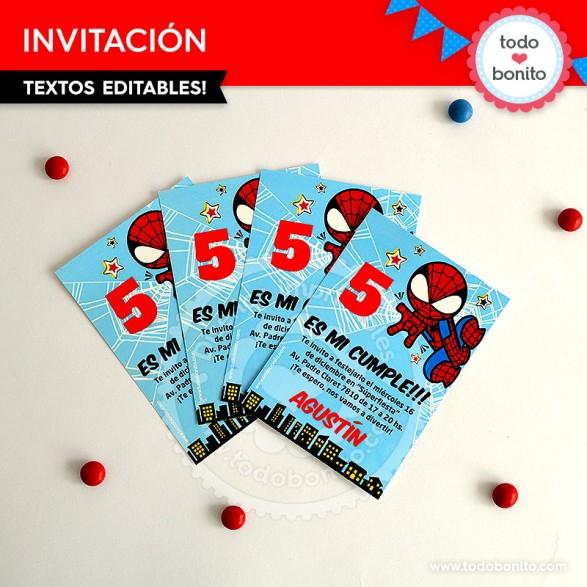 Invitaciones imprimibles y personalizables del Hombre Araña por Todo Bonito