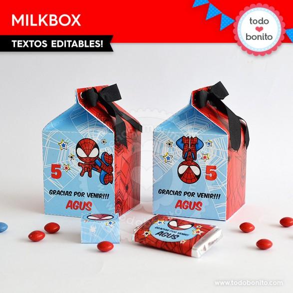Cajita MilkBox imprimible del Hombre Araña por Todo Bonito