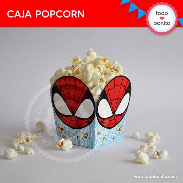 Cajita popcorn imprimible del Hombre Araña por Todo Bonito