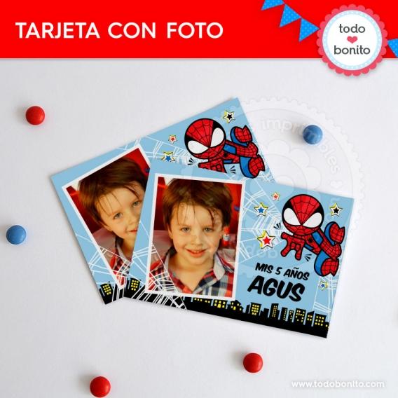 Tarjeta con foto Imprimible Hombre Araña Todo Bonito