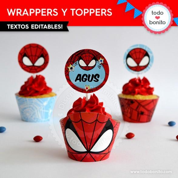 Wrappers y Toppers imprimibles del Hombre Araña por Todo Bonito