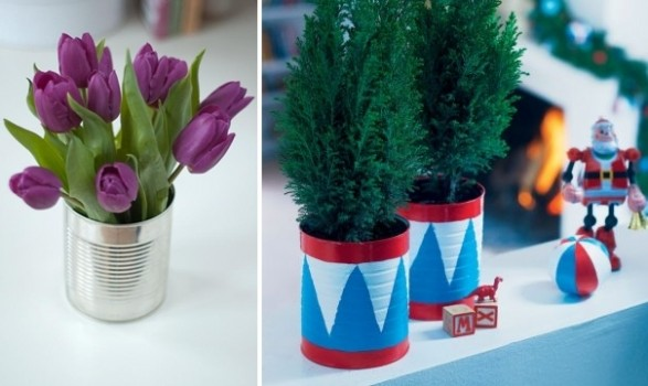 Ideas para decorar con latas for Decorating tins for christmas