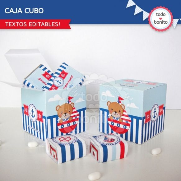 Cajas cubo Imprimibles Kit Nautico Todo Bonito