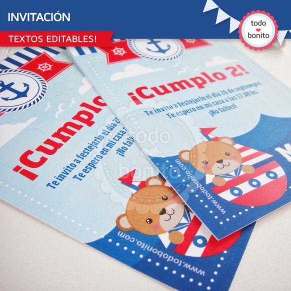 Invitaciones Imprimibles Kit Nautico Todo Bonito
