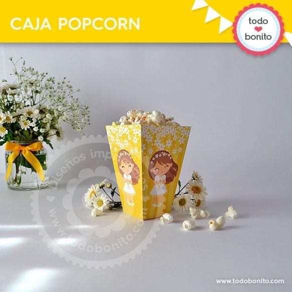 Primera Comunión margaritas cajita popcorn
