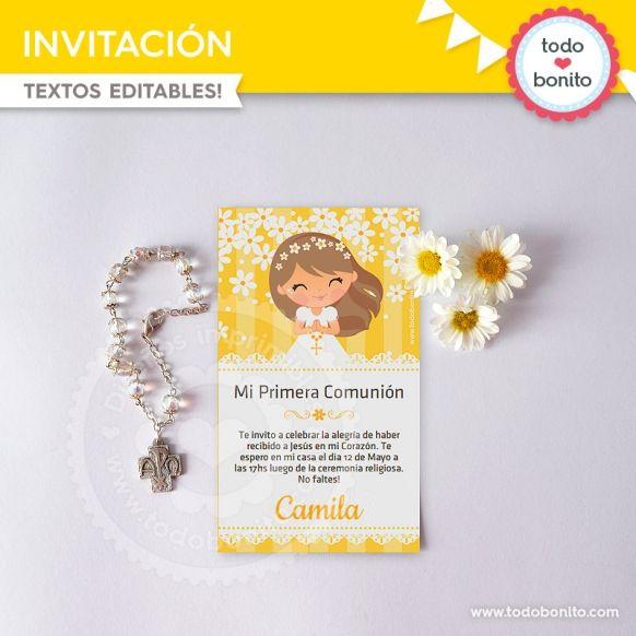 Primera Comunión margaritas invitaciones