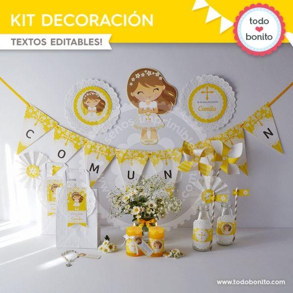 Primera comunión margaritas kit decoracion imprimible