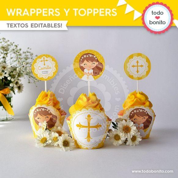 Primera Comunión margaritas wrappers toppers