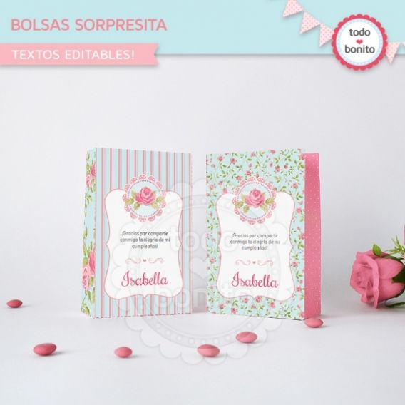 Bolsa Sorpresita Imprimible Shabby chic aqua Rosa