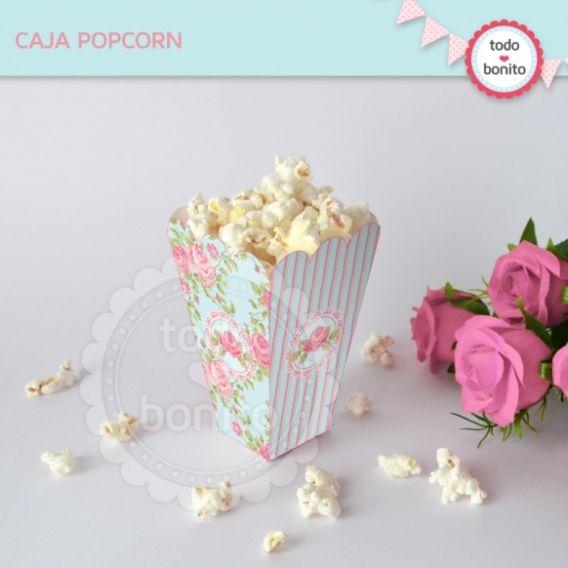 Caja PopCorn Imprimible Shabby Chic Aqua Rosa