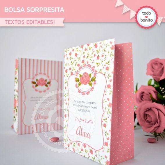 Bolsa sorpresita imprimible shabby chic rosa Todo Bonito
