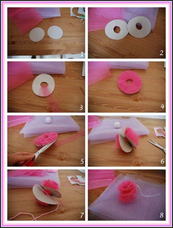 Pompones de tul paso a paso - Como se hacen los pompones ...