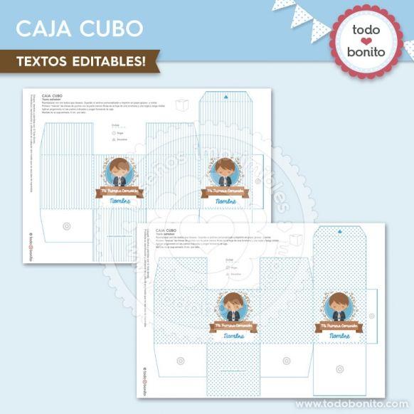 Caja Cubo diseños imprimibles Comunión de niño