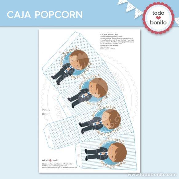 Caja PopCorn diseños imprimibles Comunión de niño