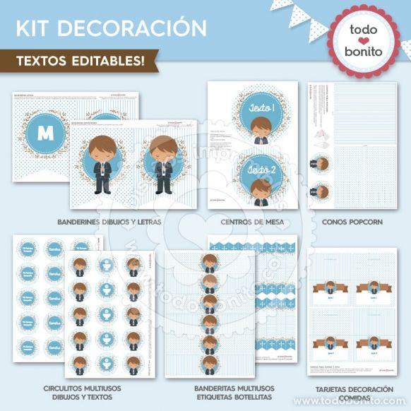 Diseño Kit de Decoración imprimible Comunión de niñode Todo Bonito