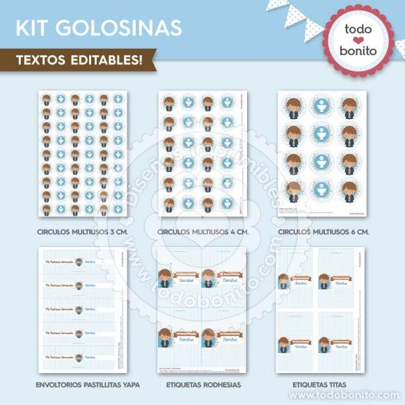 Diseño Kit de Golosinas imprimible Comunión de niñode Todo Bonito