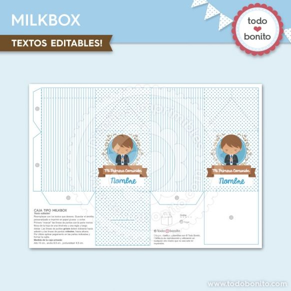 Caja MilkBox diseños imprimibles Comunión de niño