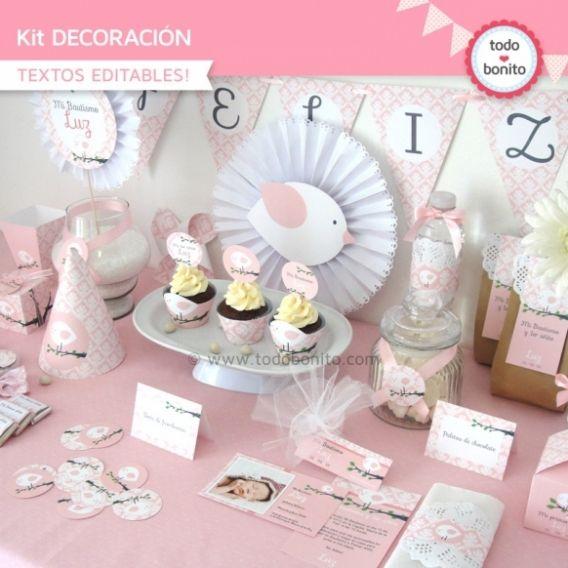 Kit Decoración Imprimible Pajarito Rosa Todo Bonito