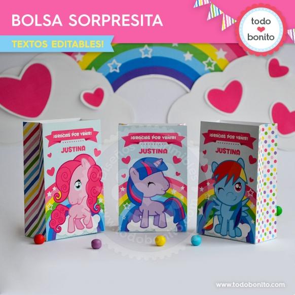 Bolsa sorpresita para imprimir de kits pony