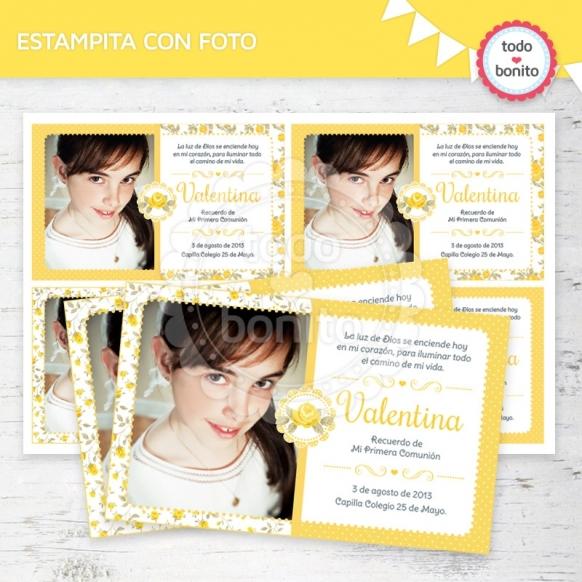 shabby-chic-amarillo-tarjeta-foto