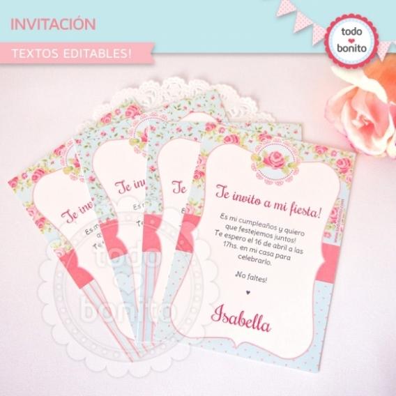 Invitación Imprimible Shabby Chic Aqua Rosa