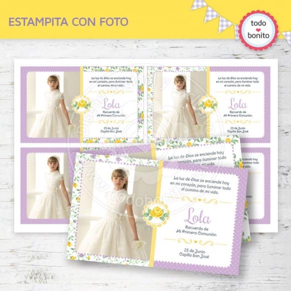 shabby-chic-violeta-amarillo-tarjeta-foto