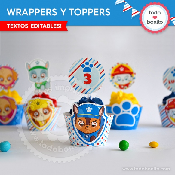 Wrappers y Toppers Imprimibles Cachorros Paw Patrol Todo Bonito