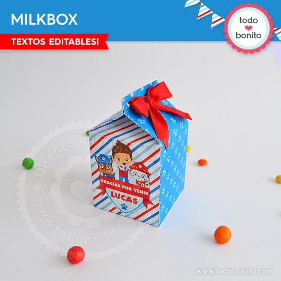 Milkbox para imprimir de Paw Patrol