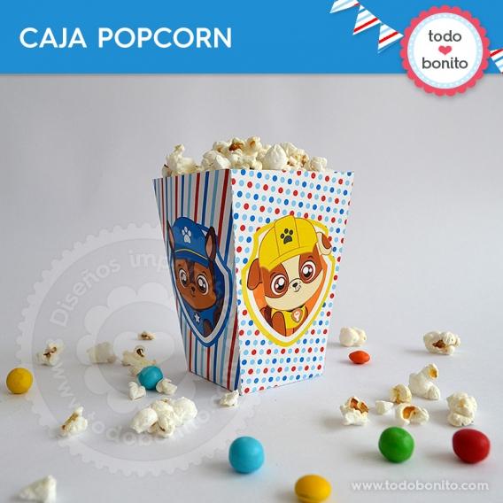 Caja popcorn para imprimir de Paw Patrol
