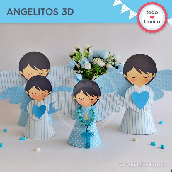 Angelitos 3D para imprimir ángeles. Bautizo o Comunión por Todo Bonito.