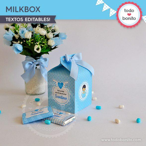 MilkBox para imprimir ángeles. Bautizo o Comunión por Todo Bonito.