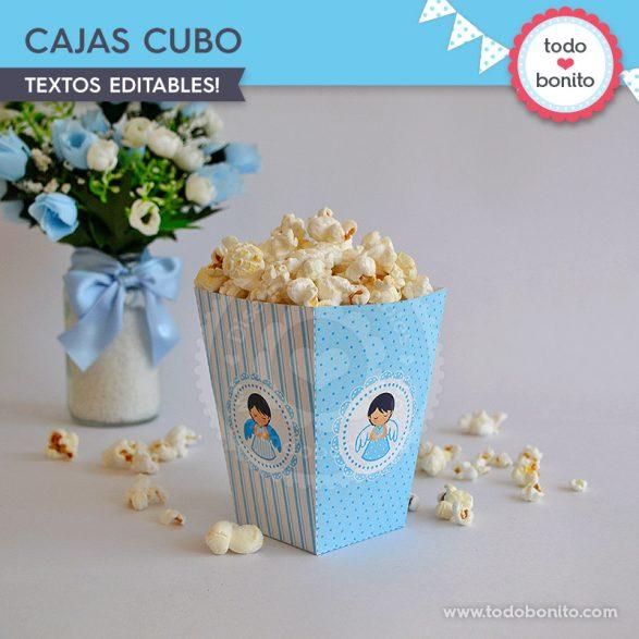 Cajas popcorn para imprimir ángeles. Bautizo o Comunión por Todo Bonito.