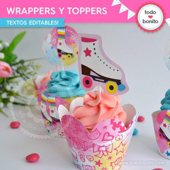 Wrappers y toppers de Patines, por Todo Bonito