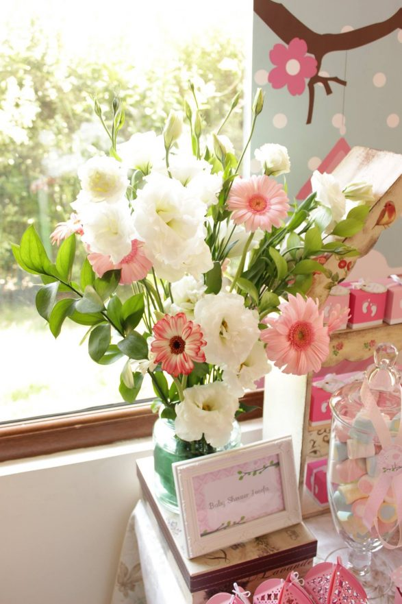 Decoracion pajaritos rosas