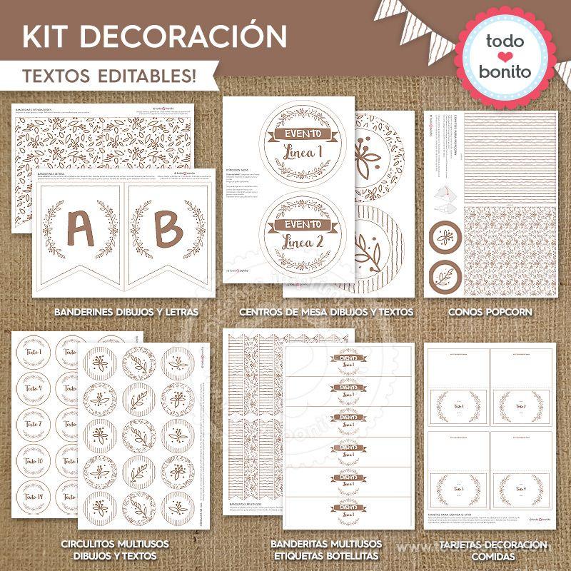 Kit Decoración Imprimible Rústico Todo Bonito