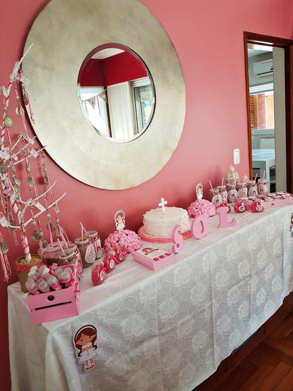 comunion nina rosa kit decoracion