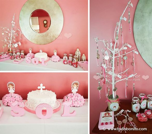 comunion nina rosa kit decoracion