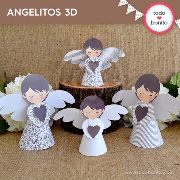 Angelitos 3D para imprimir rústico