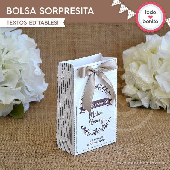 Bolsa sorpresita imprimible Kit rustico