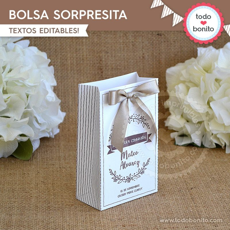 Bolsa Sorpresita Imprimible Kit Rústico Todo Bonito