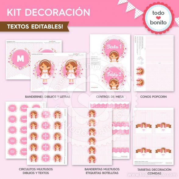 Comunión Niña Rosa Kit Decoración