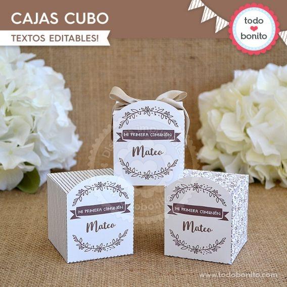 Caja Cubo Imprimible Kit Rustico Todo Bonito