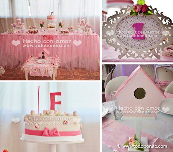 Cumpleaños en rosa y blanco