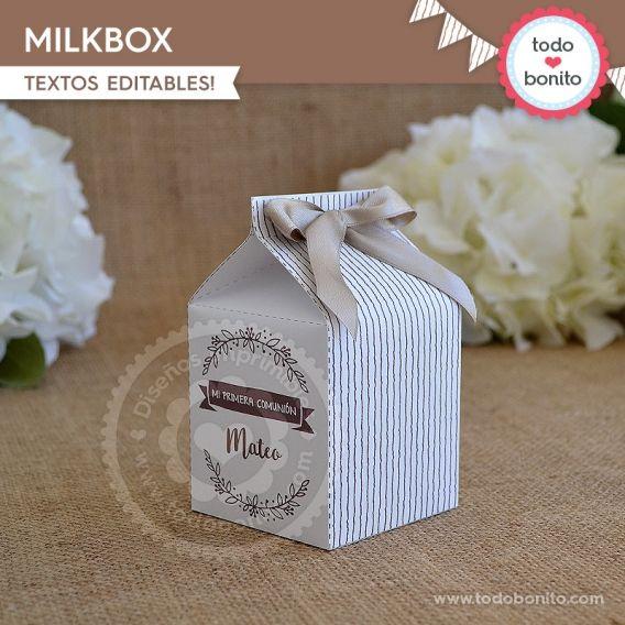 Caja milkbox para imprimir estilo rústico