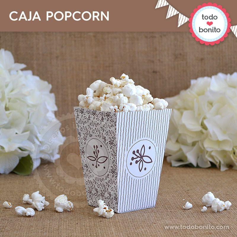 Caja PopCorn Imprimible Kit Rústico Todo Bonito